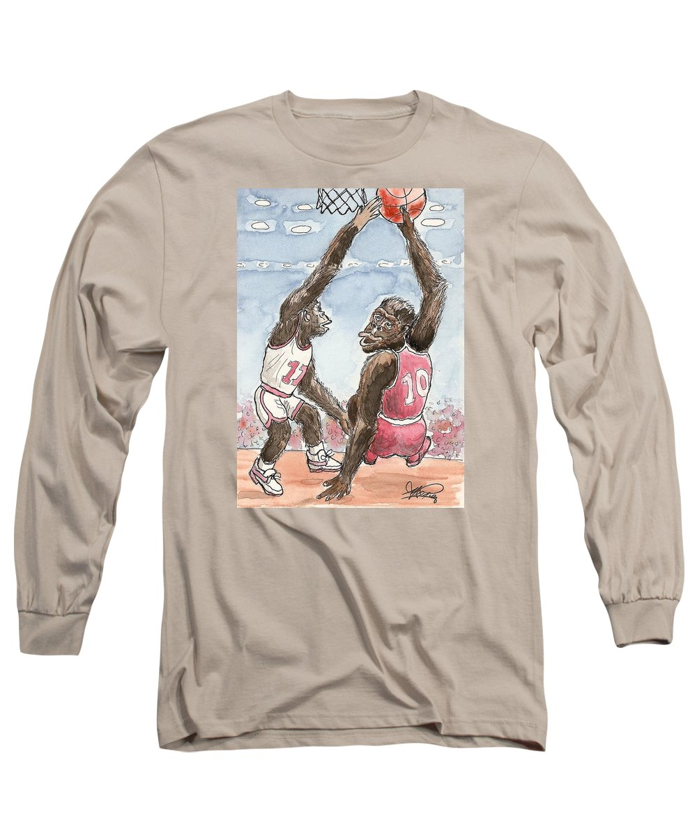 Basketbal Long Sleeve T-Shirt featuring the painting No No No by George I Perez