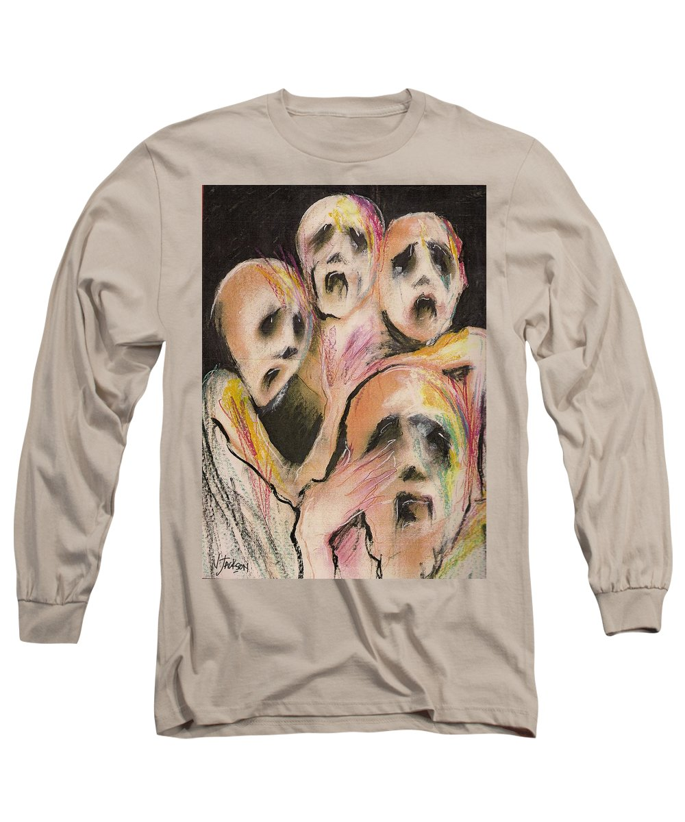 War Cry Tears Horror Fear Darkness Long Sleeve T-Shirt featuring the mixed media No Words by Veronica Jackson