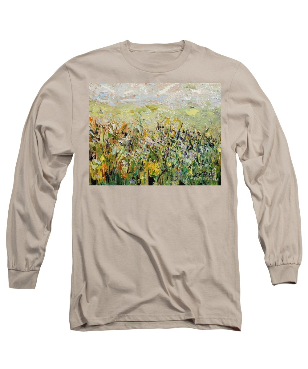 Field Paintings Long Sleeve T-Shirt featuring the painting Nose Hill by Seon-Jeong Kim