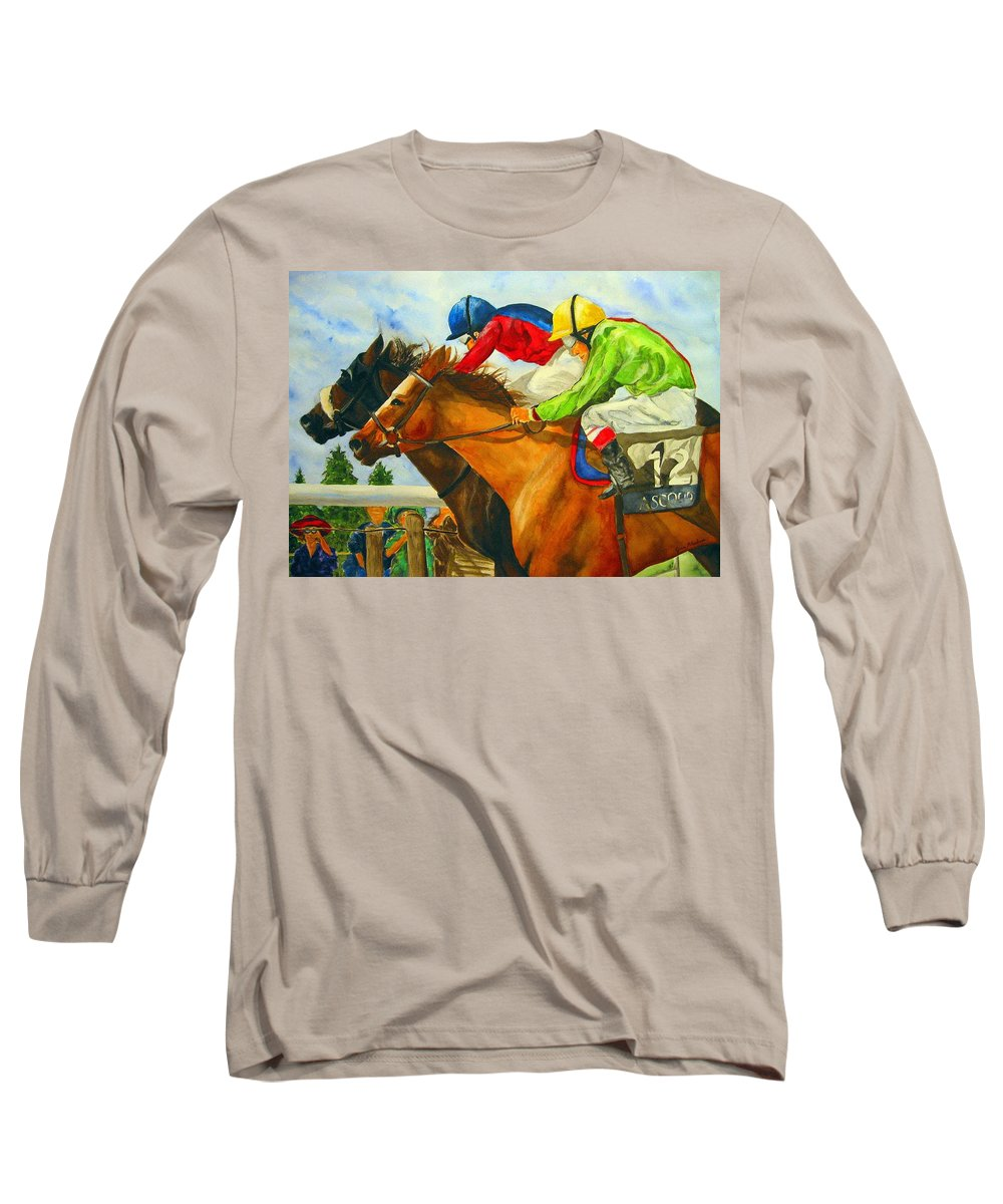 Horse Long Sleeve T-Shirt featuring the painting Nose To Nose by Jean Blackmer