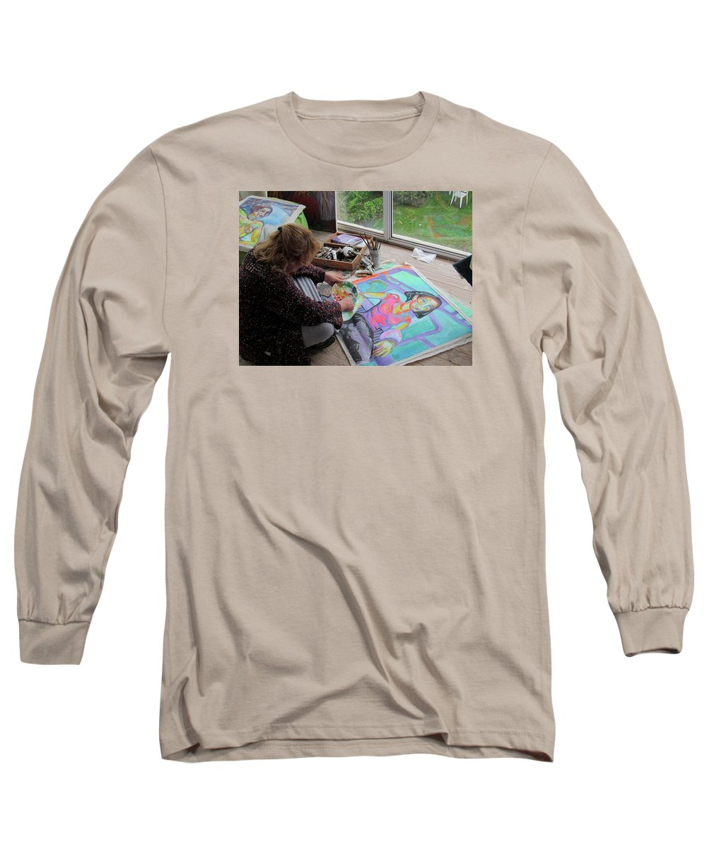 Landscape Long Sleeve T-Shirt featuring the painting Nude by Raquel Sarangello