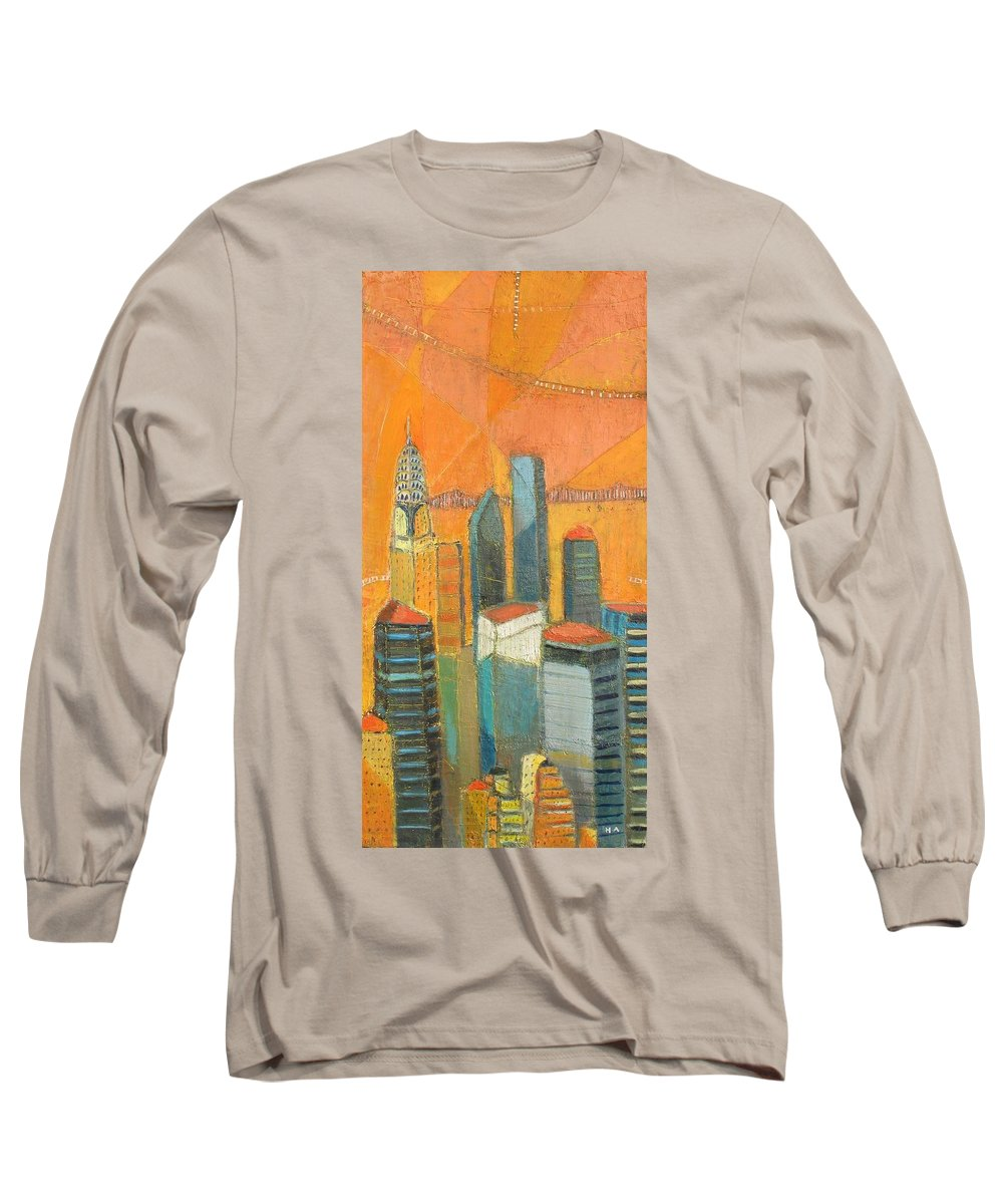 Long Sleeve T-Shirt featuring the painting Nyc In Orange by Habib Ayat