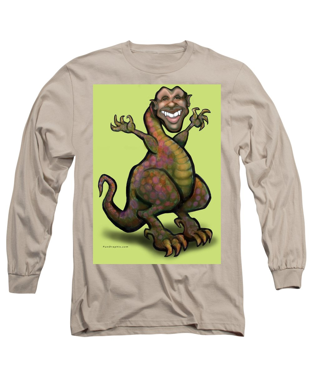 Barack Obama Long Sleeve T-Shirt featuring the greeting card Obama Saurus Rex by Kevin Middleton