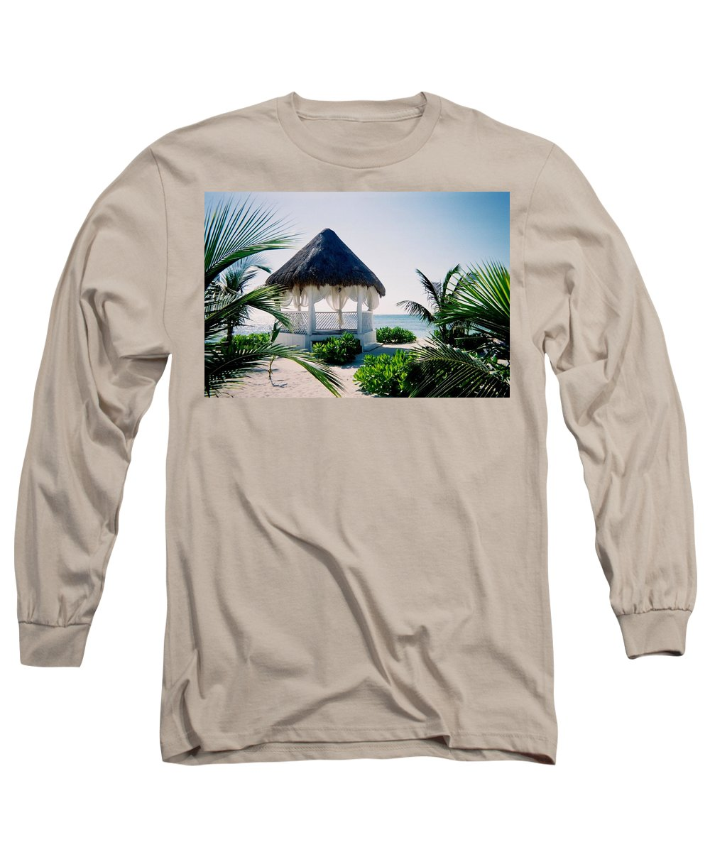 Resort Long Sleeve T-Shirt featuring the photograph Ocean Gazebo by Anita Burgermeister