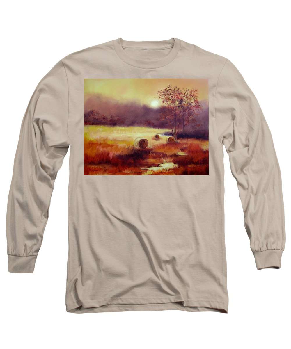 Fall Landscapes Long Sleeve T-Shirt featuring the painting October Pasture by Ginger Concepcion