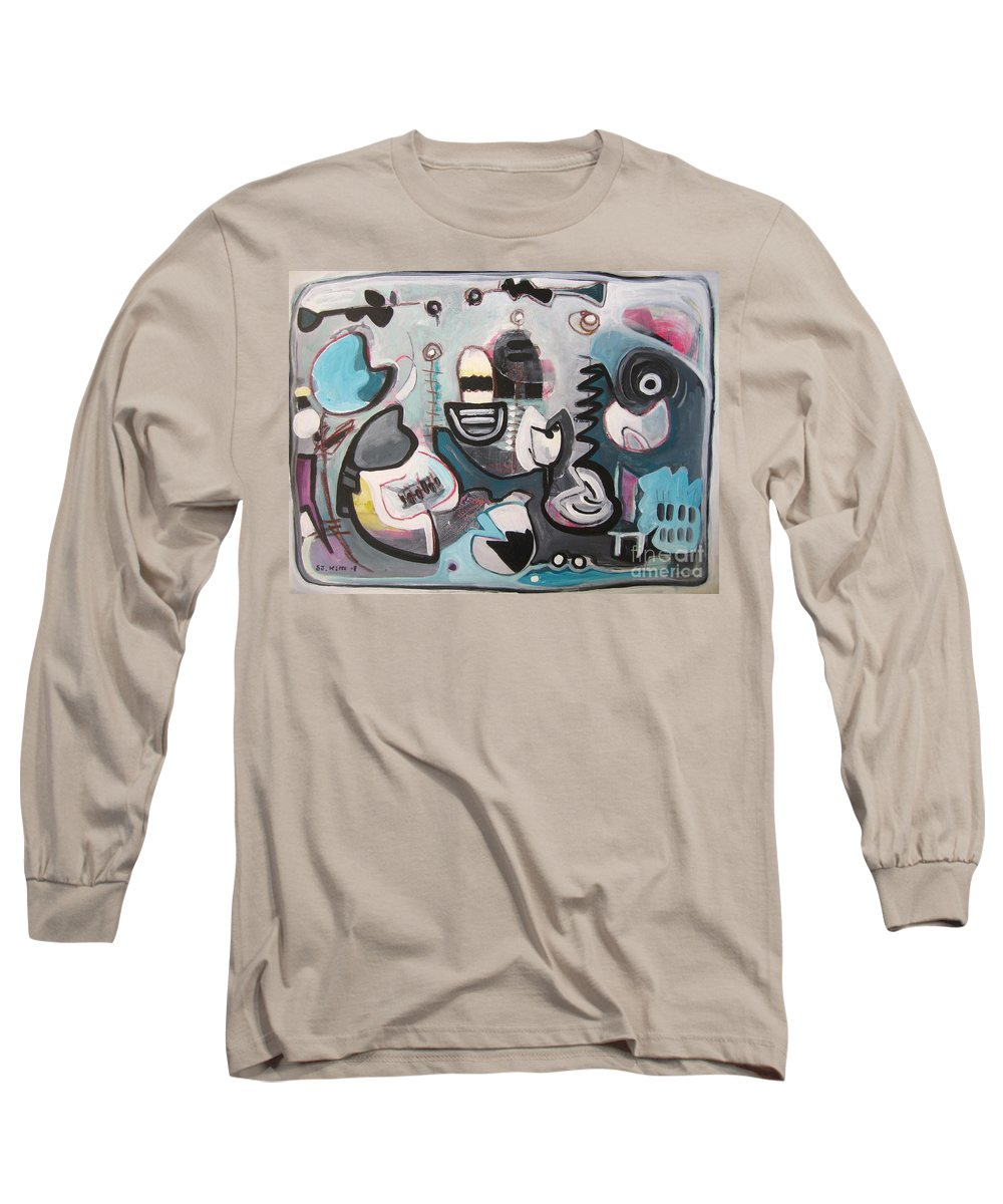 Fish Paintings Long Sleeve T-Shirt featuring the painting Off The Island by Seon-Jeong Kim