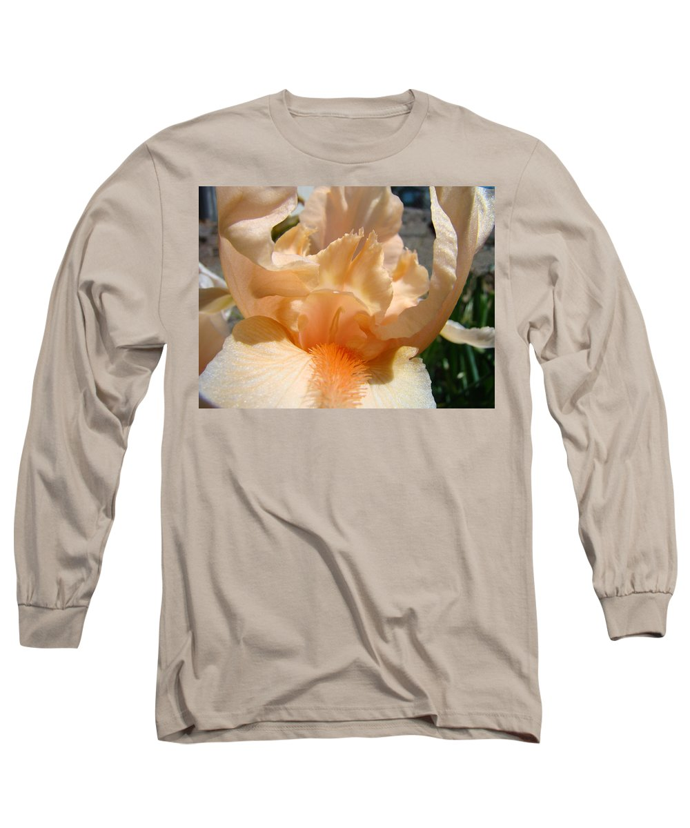 �irises Artwork� Long Sleeve T-Shirt featuring the photograph Office Art Irises Flower Orange Iris Flower Giclee Art Prints Baslee Troutman by Baslee Troutman