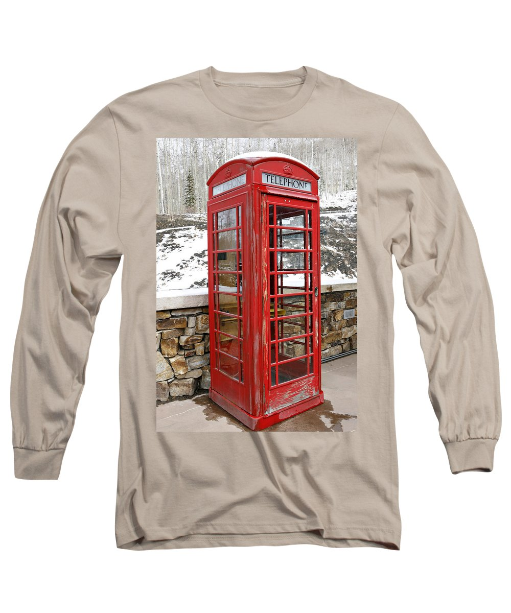 Communication Long Sleeve T-Shirt featuring the photograph Old Phone Booth by Marilyn Hunt