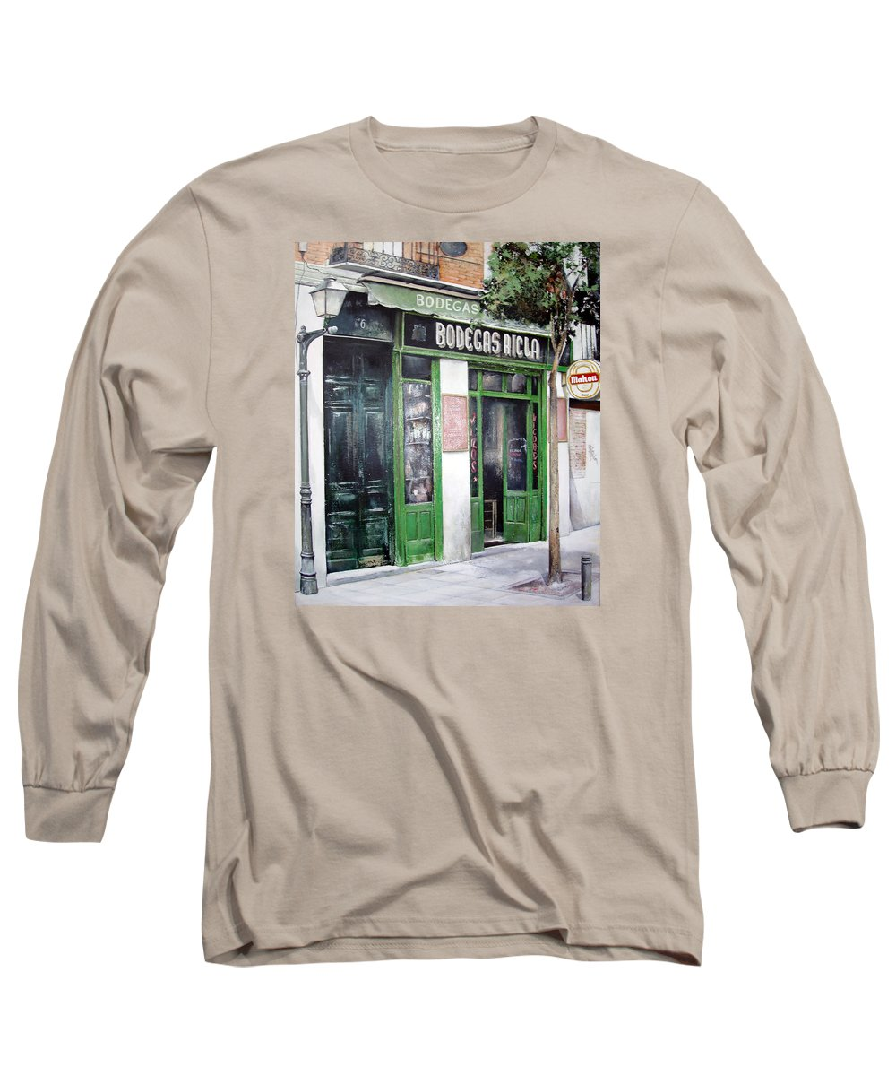 Bodegas Long Sleeve T-Shirt featuring the painting Old Tavern-madrid by Tomas Castano