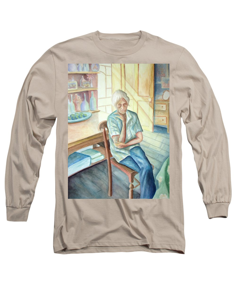 Woman Long Sleeve T-Shirt featuring the painting Old Woman by Nancy Mueller