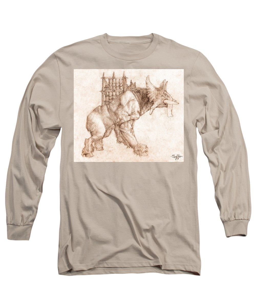 Lord Of The Rings Long Sleeve T-Shirt featuring the drawing Oliphaunt by Curtiss Shaffer