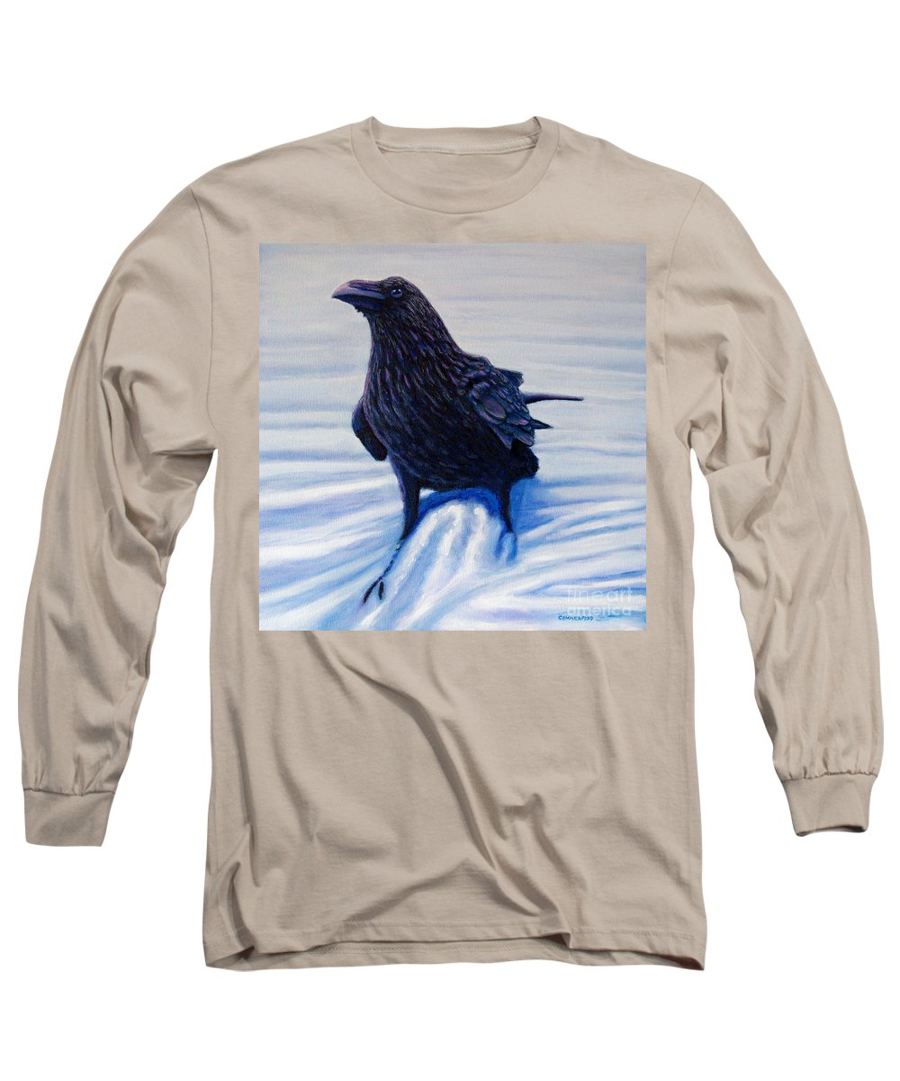 Raven Long Sleeve T-Shirt featuring the painting On Canyon Road by Brian Commerford