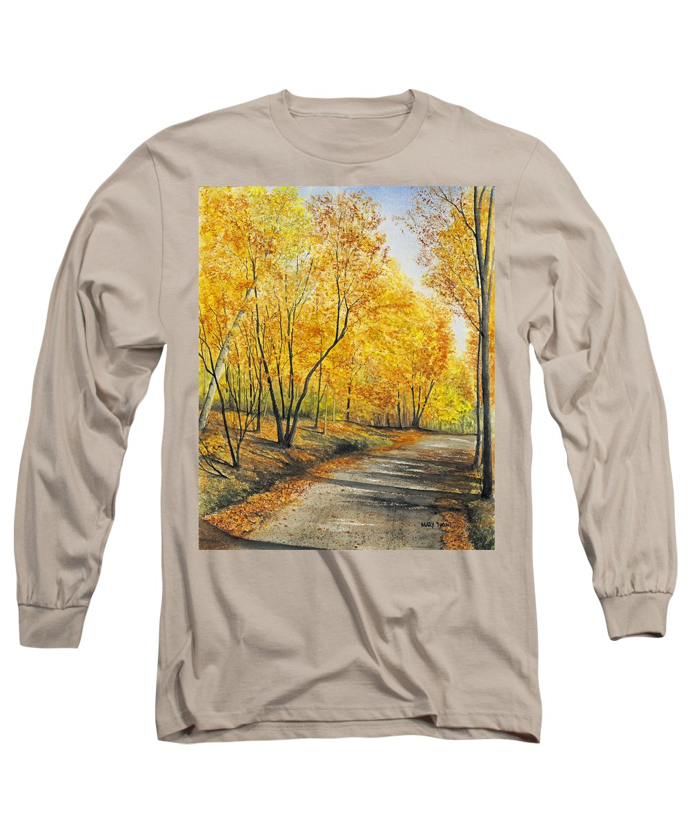Autumn Long Sleeve T-Shirt featuring the painting On Golden Road by Mary Tuomi