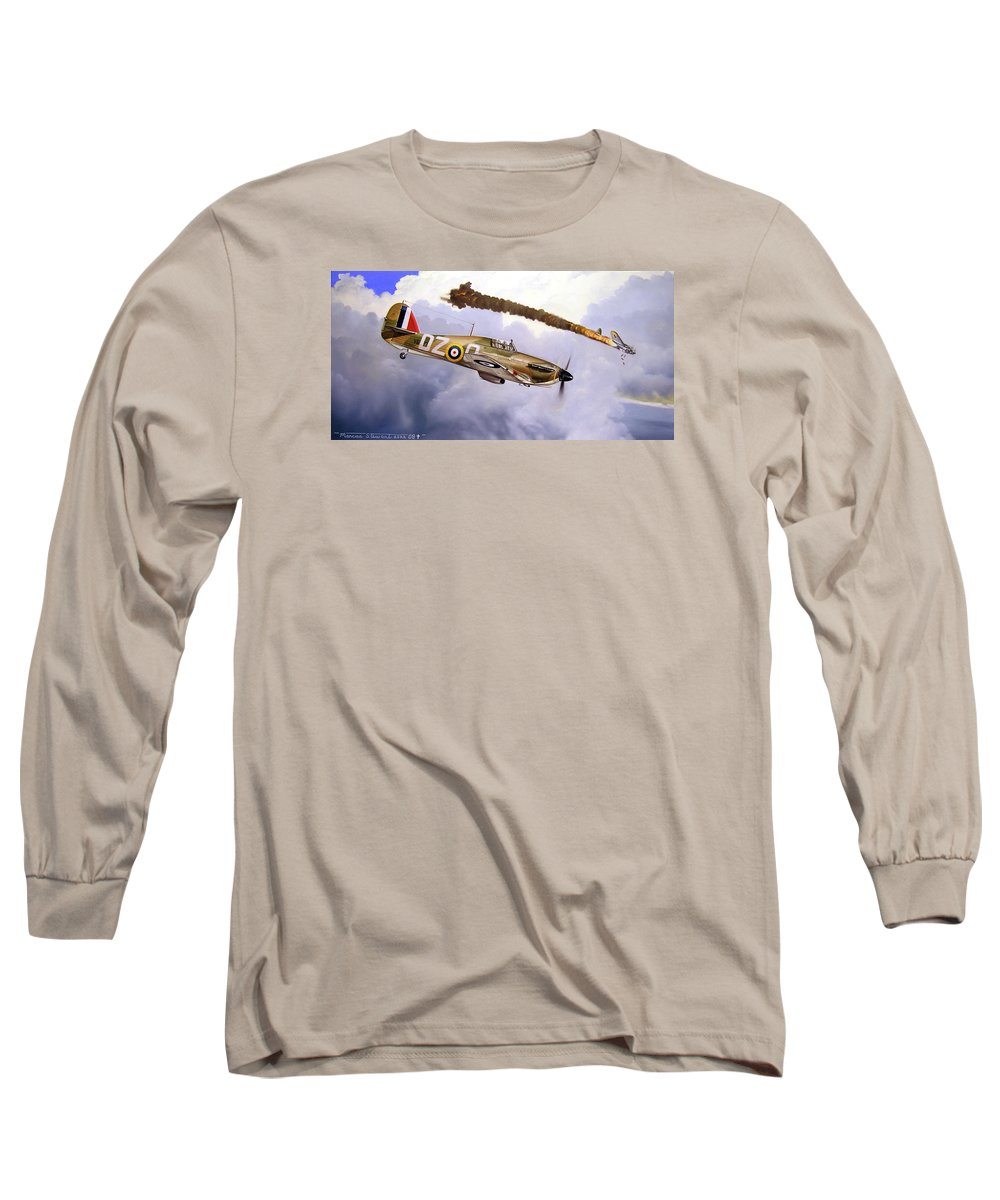 Aviation Art Long Sleeve T-Shirt featuring the painting One Of The Few by Marc Stewart