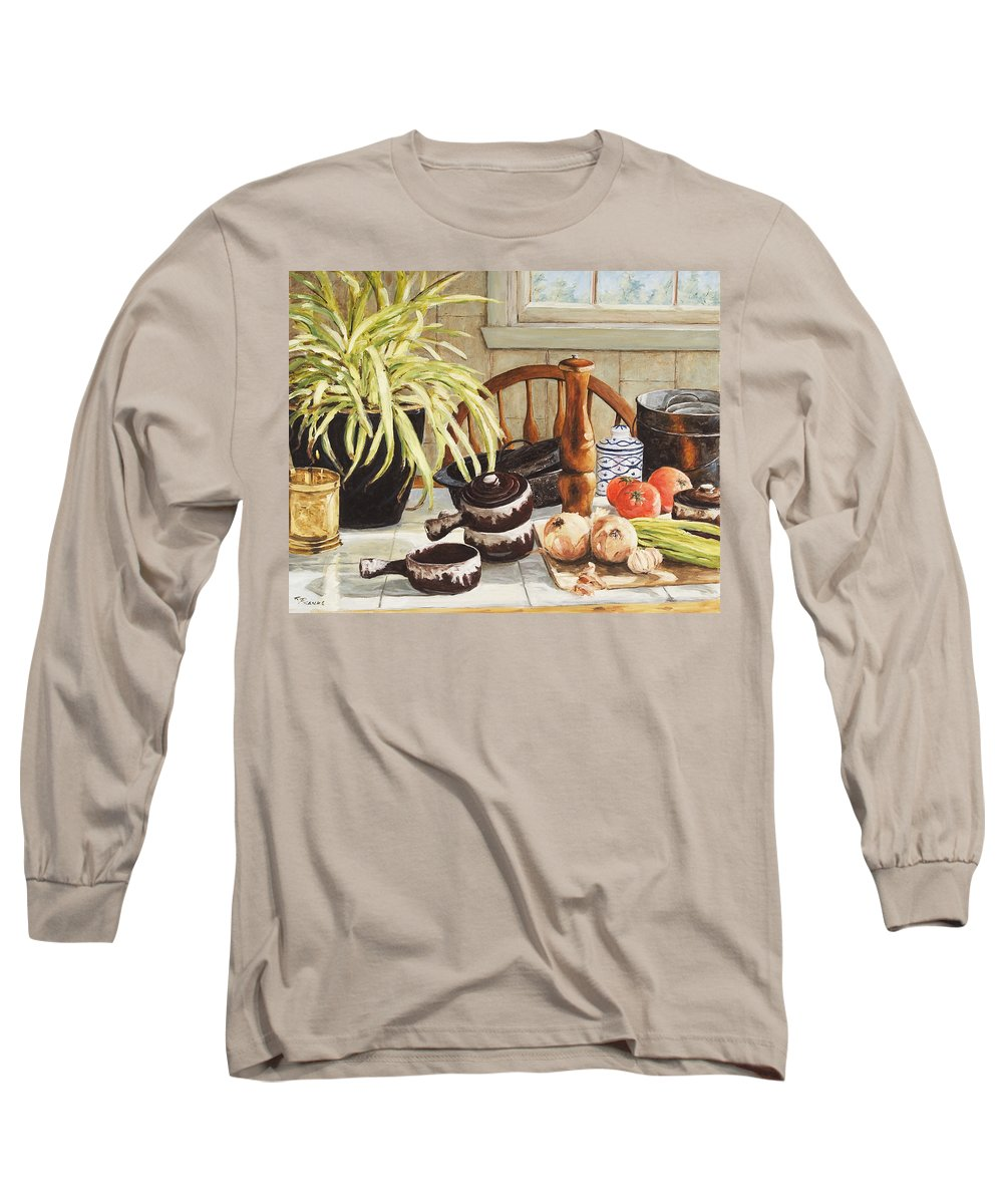 Onion Long Sleeve T-Shirt featuring the painting Onion Soup Tonight by Richard T Pranke
