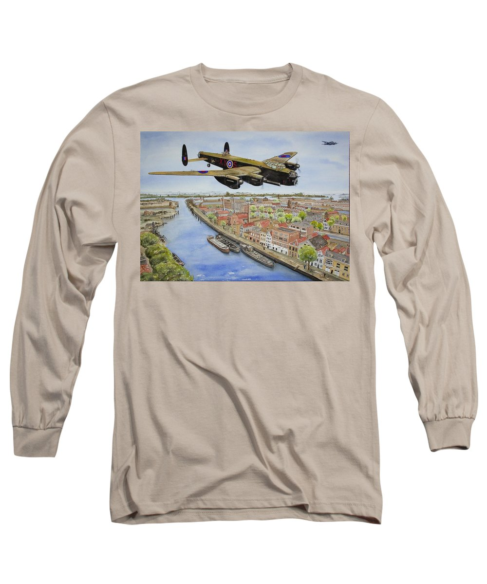 Lancaster Bomber Long Sleeve T-Shirt featuring the painting Operation Manna II by Gale Cochran-Smith