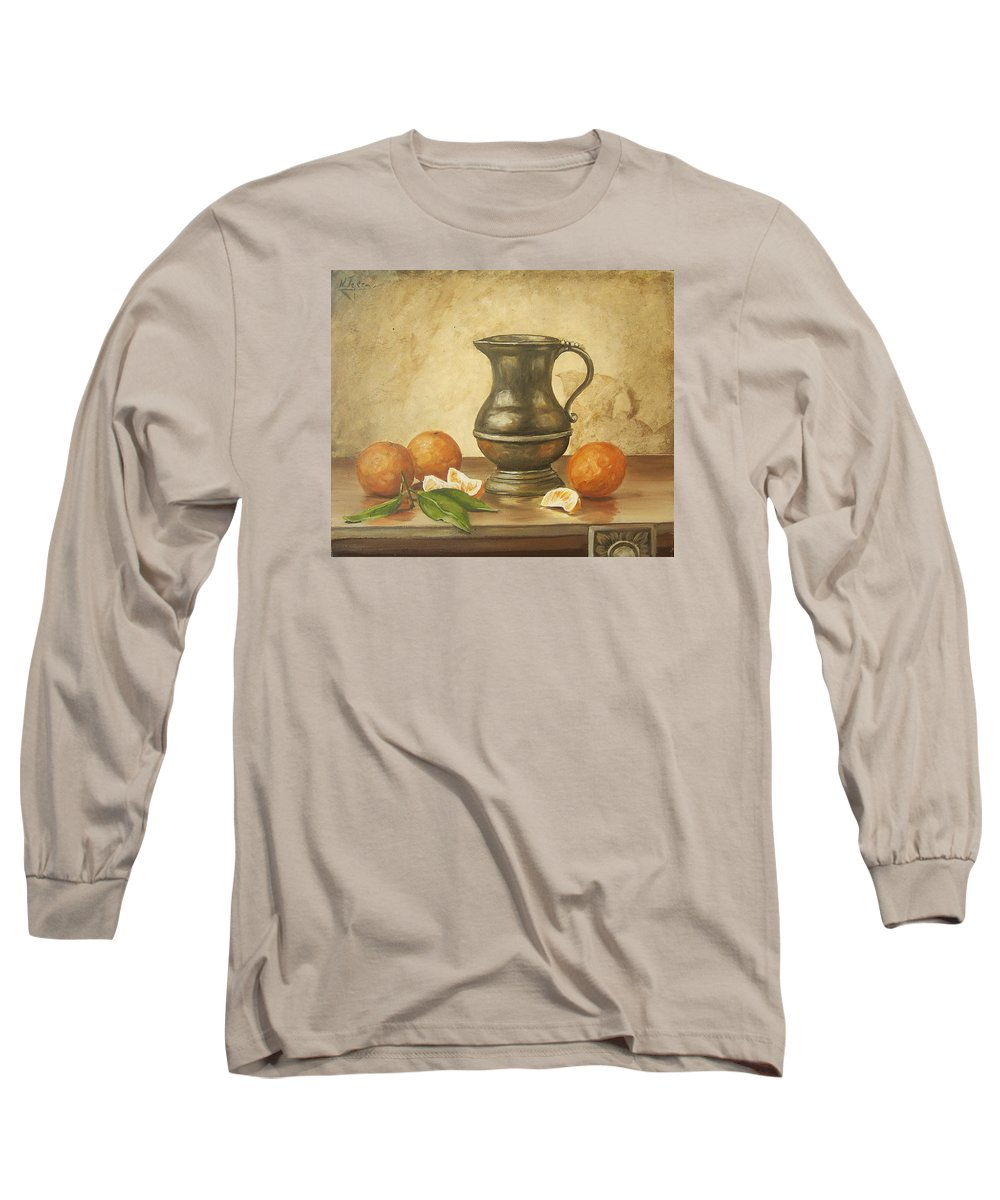 Still Life Long Sleeve T-Shirt featuring the painting Oranges by Natalia Tejera