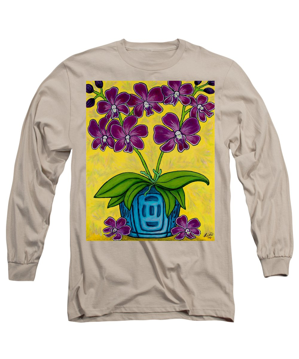 Orchids Long Sleeve T-Shirt featuring the painting Orchid Delight by Lisa Lorenz