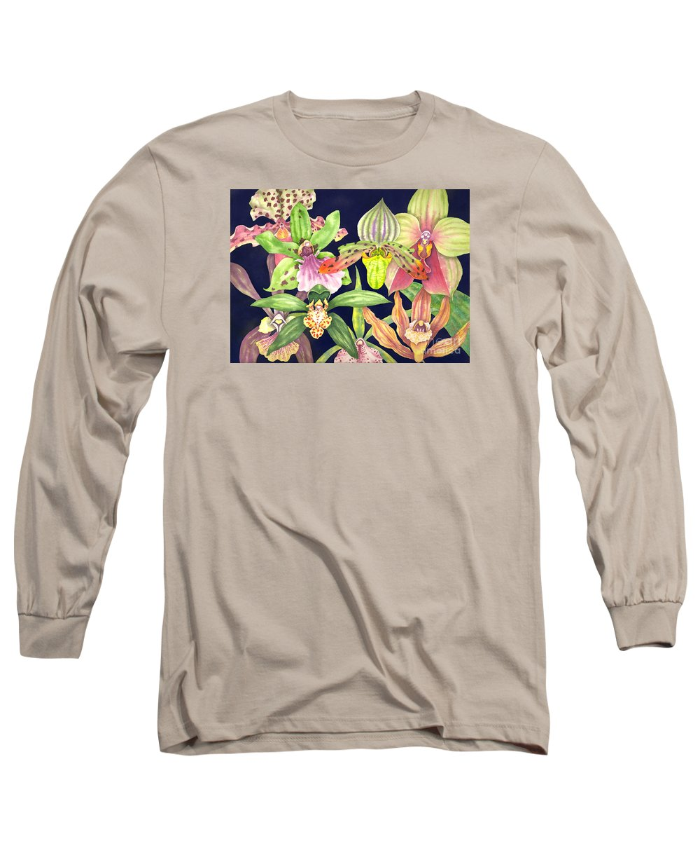 Orchids Long Sleeve T-Shirt featuring the painting Orchids by Lucy Arnold