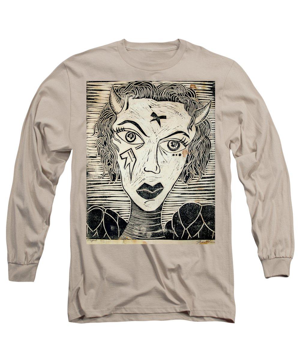 Block Print Long Sleeve T-Shirt featuring the print Original Devil Block Print by Thomas Valentine