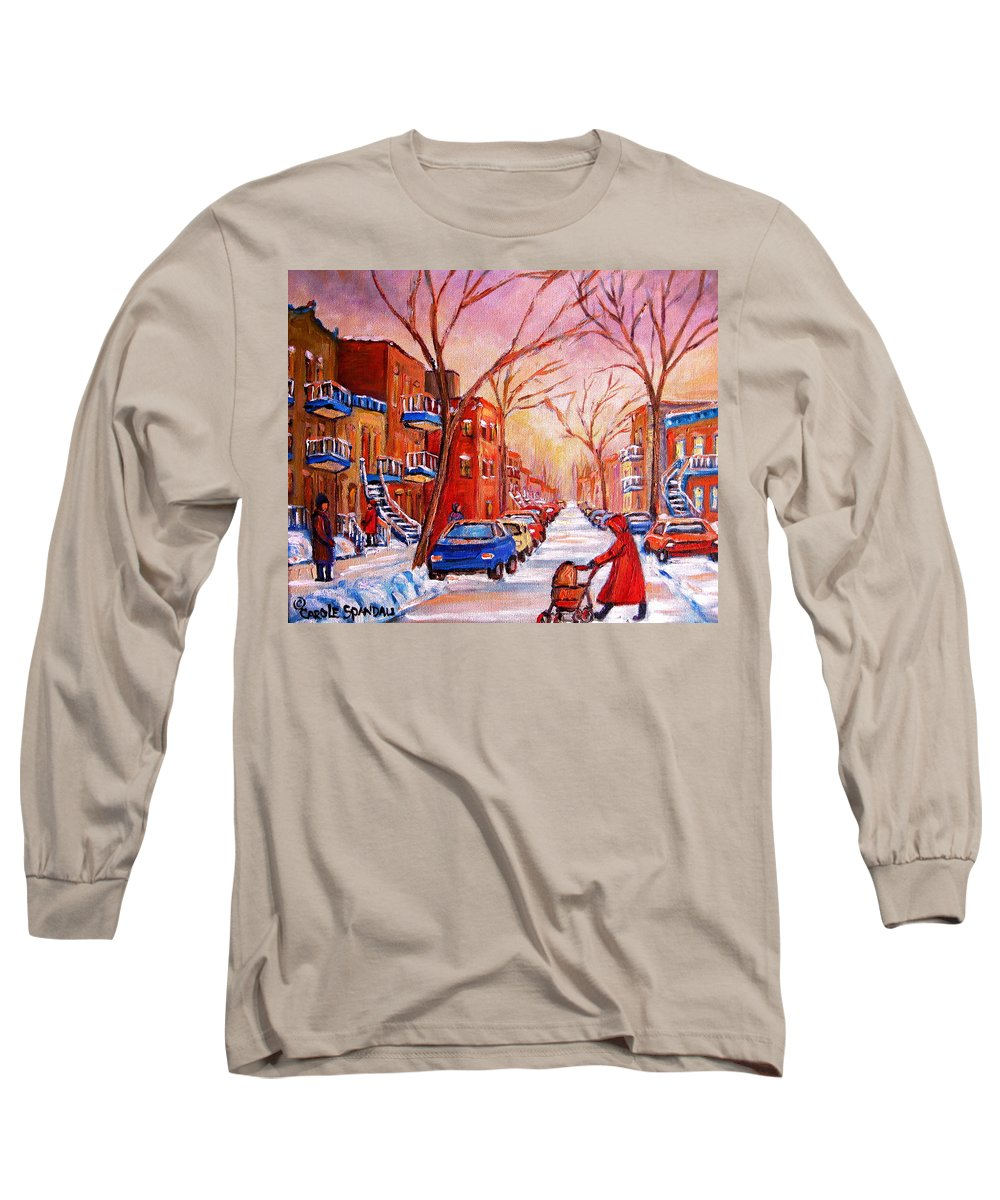 Montreal Long Sleeve T-Shirt featuring the painting Out For A Walk With Mom by Carole Spandau