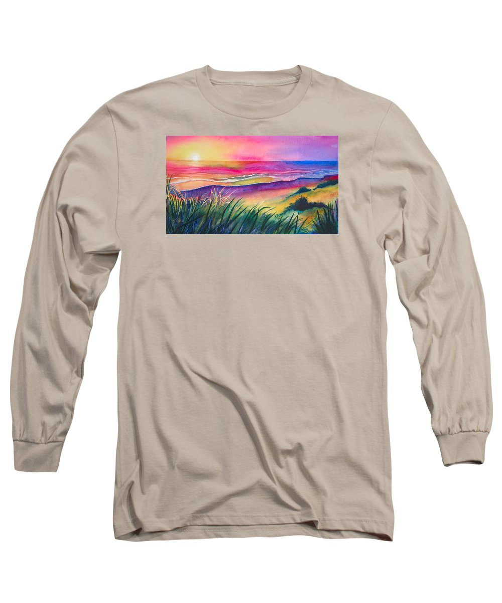 Pacific Long Sleeve T-Shirt featuring the painting Pacific Evening by Karen Stark
