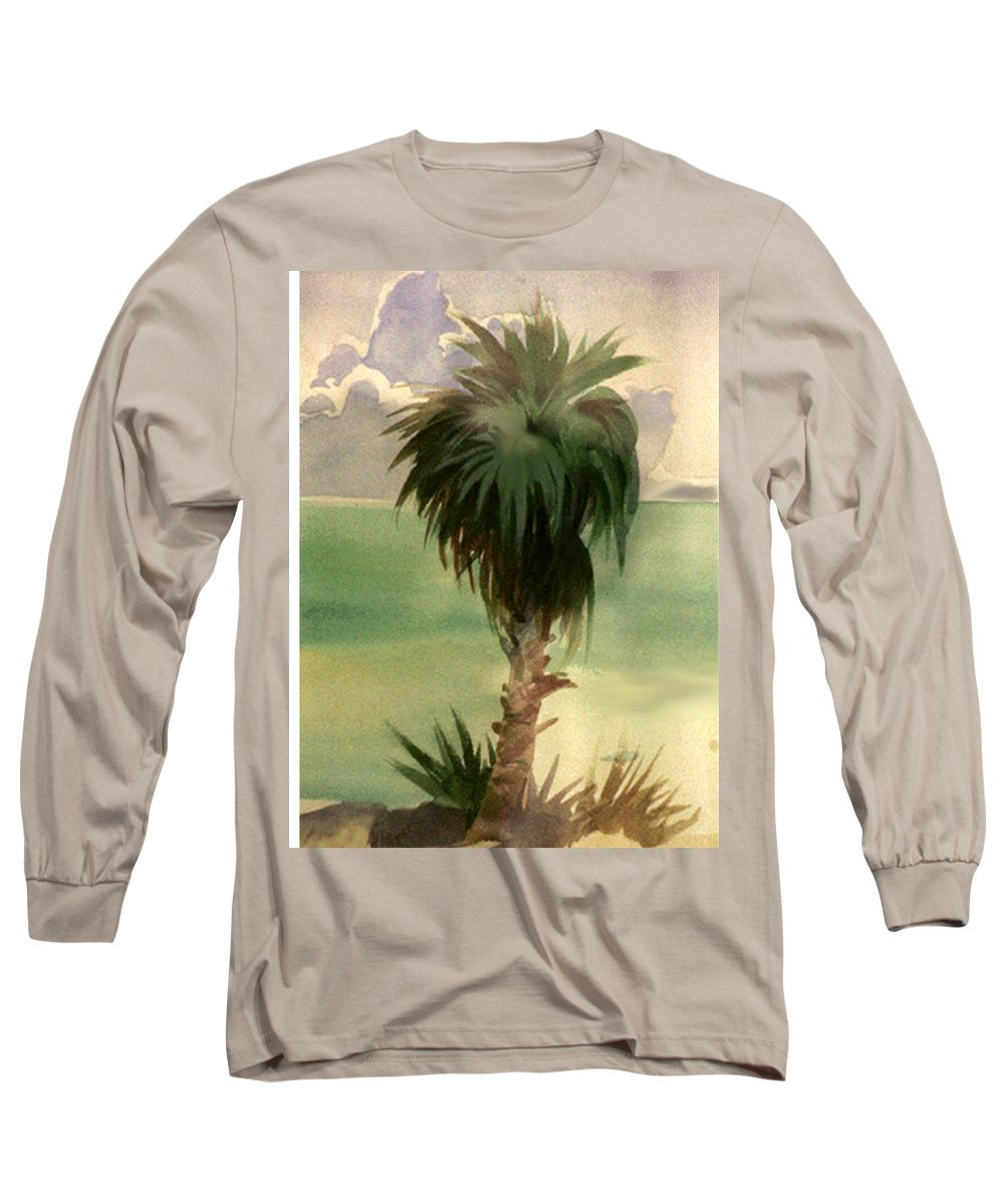 Palm Long Sleeve T-Shirt featuring the painting Palm At Horseshoe Cove by Neal Smith-Willow