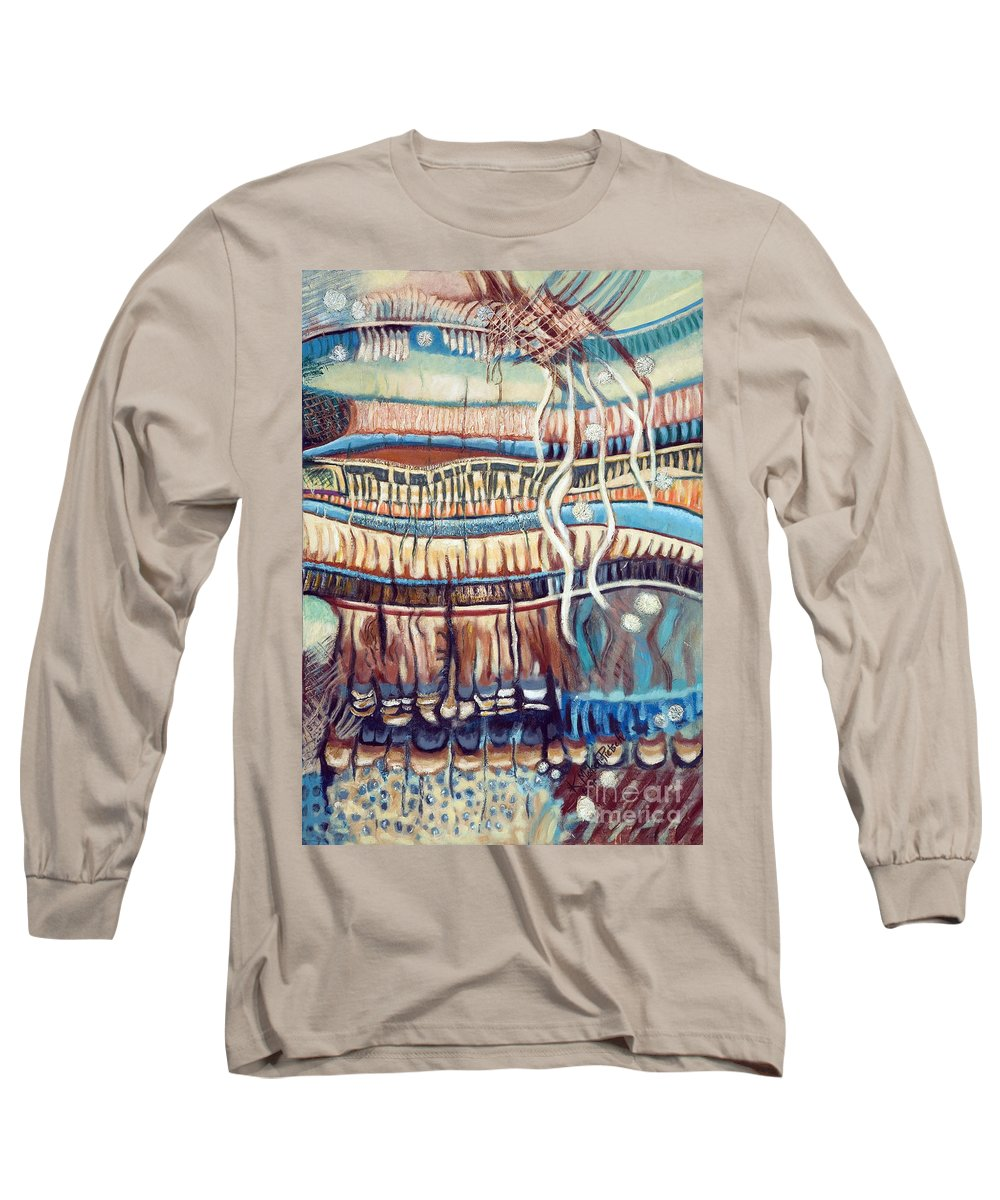 Abstract Long Sleeve T-Shirt featuring the painting Palm Contractions by Kerryn Madsen-Pietsch