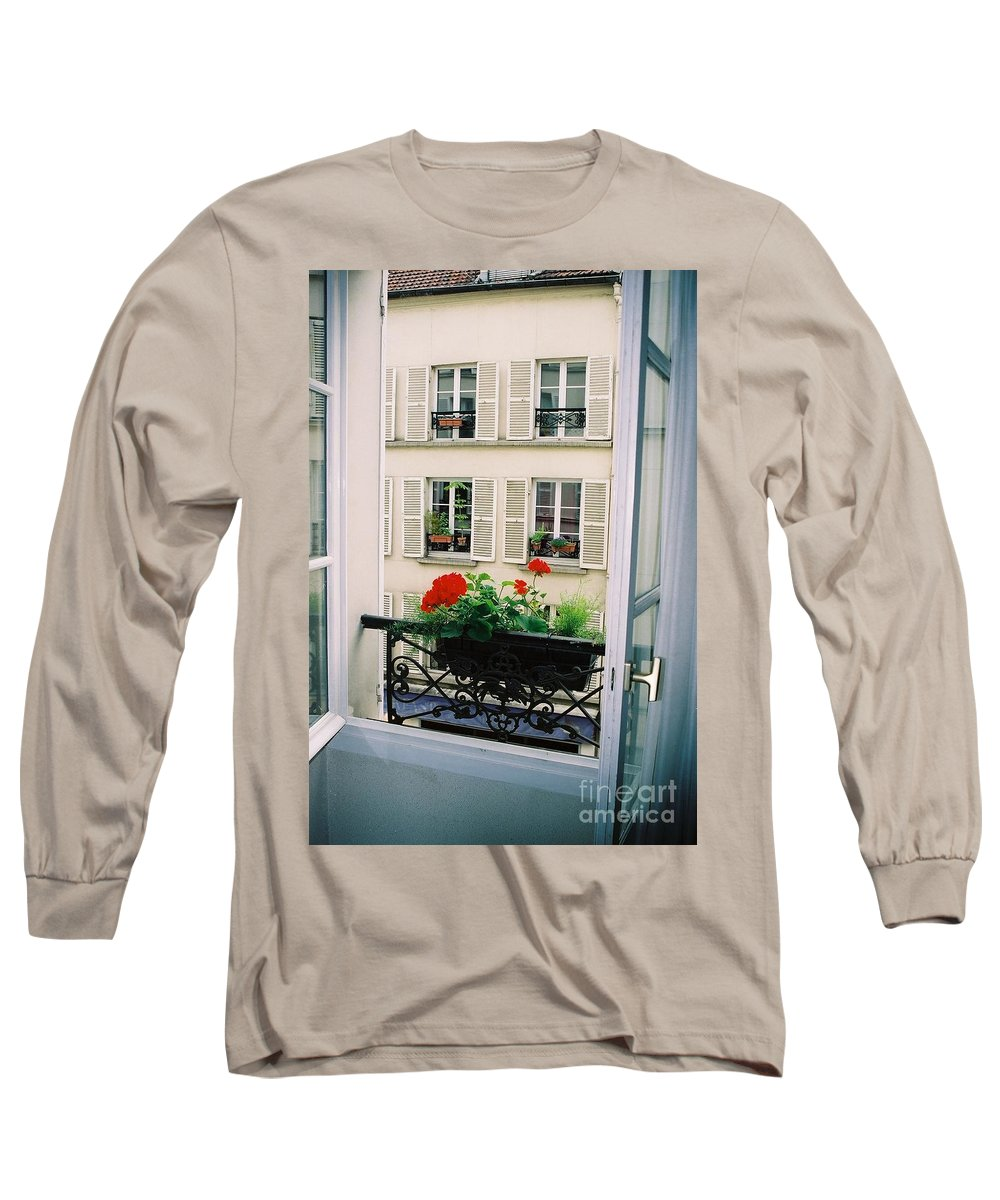 Window Long Sleeve T-Shirt featuring the photograph Paris Day Windowbox by Nadine Rippelmeyer