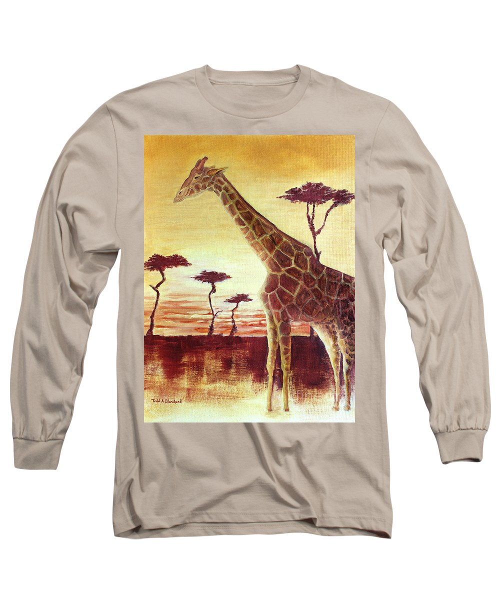 Animal Long Sleeve T-Shirt featuring the painting Patches by Todd A Blanchard