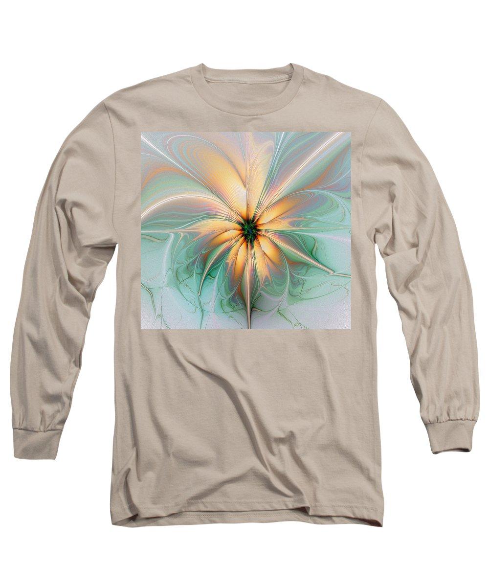Digital Art Long Sleeve T-Shirt featuring the digital art Peach Allure by Amanda Moore