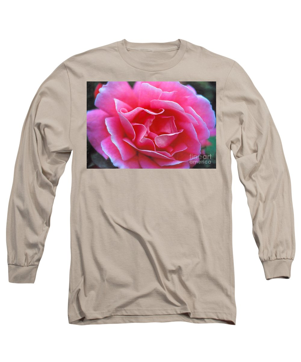 Peggy Lee Rose Long Sleeve T-Shirt featuring the photograph Peggy Lee Rose Bridal Pink by David Zanzinger