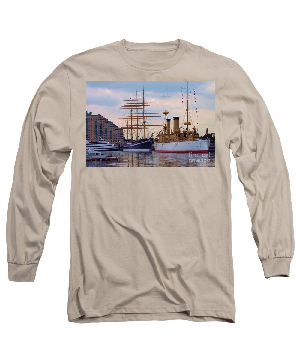 Philadelphia Long Sleeve T-Shirt featuring the photograph Philadelphia Waterfront Olympia by Debbi Granruth