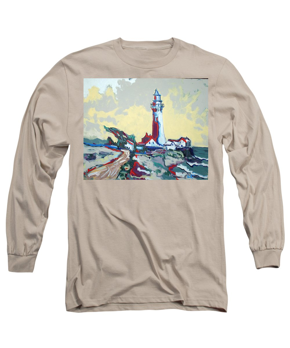 Ligthouse Long Sleeve T-Shirt featuring the painting Pigeon Point by Kurt Hausmann