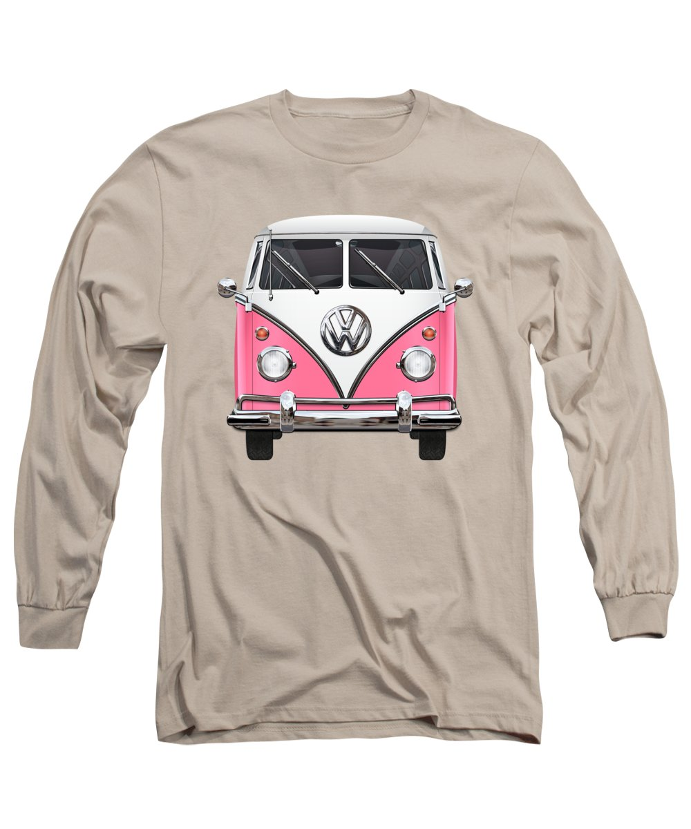 'volkswagen Type 2' Collection By Serge Averbukh Long Sleeve T-Shirt featuring the photograph Pink And White Volkswagen T 1 Samba Bus On Yellow by Serge Averbukh