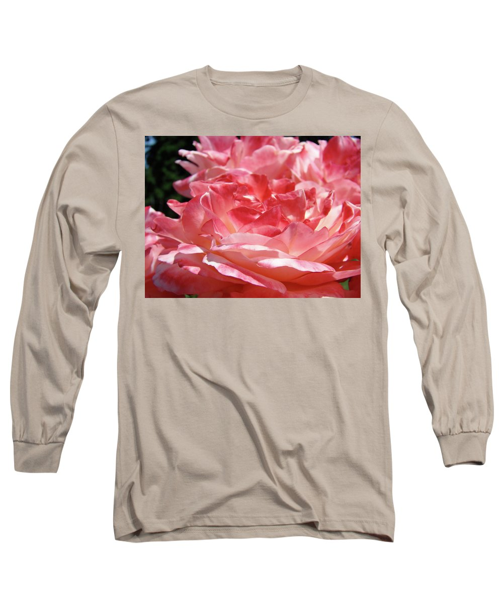 Rose Long Sleeve T-Shirt featuring the photograph Pink White Roses Floral Art Prints Rose Baslee Troutman by Baslee Troutman