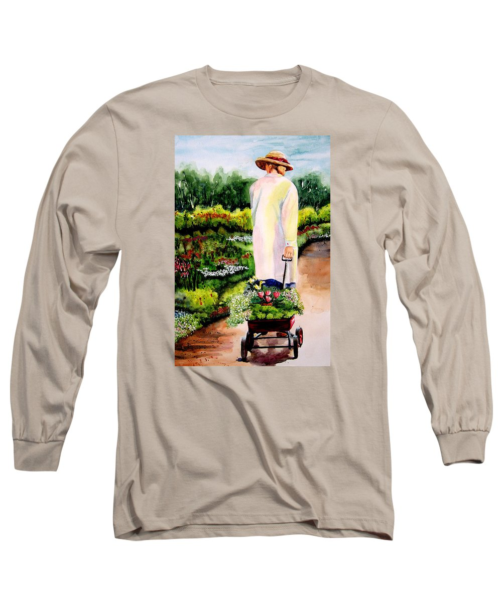 Garden Long Sleeve T-Shirt featuring the painting Planting Plans by Karen Stark