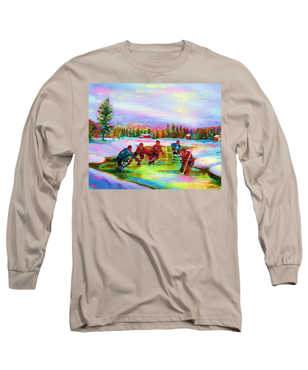 Hockey Long Sleeve T-Shirt featuring the painting Pond Hockey Blue Skies by Carole Spandau