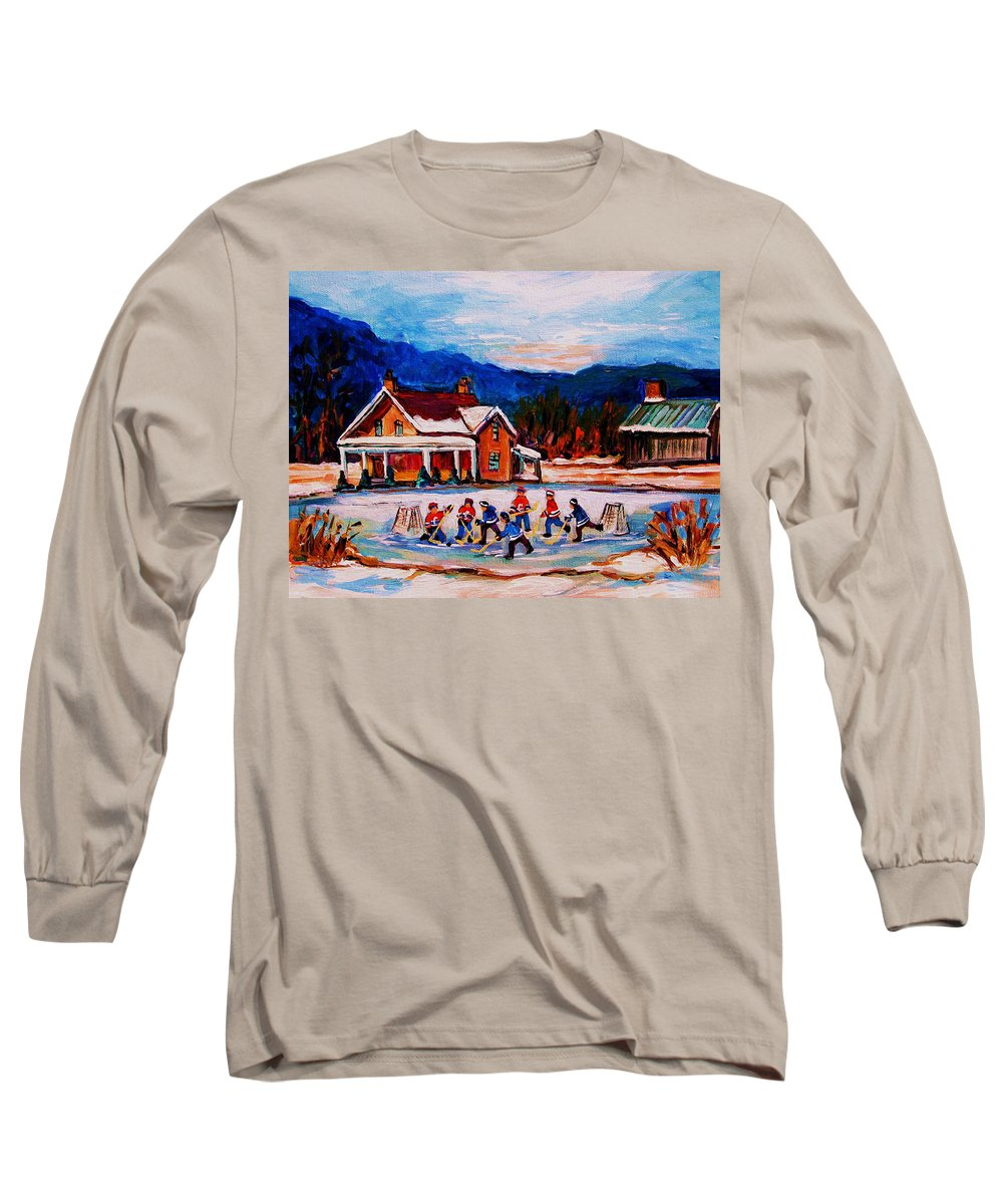 Hockey Long Sleeve T-Shirt featuring the painting Pond Hockey by Carole Spandau