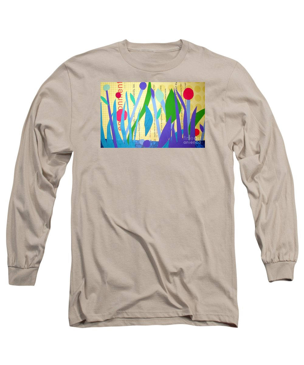Landscape Long Sleeve T-Shirt featuring the mixed media Pond Life by Debra Bretton Robinson