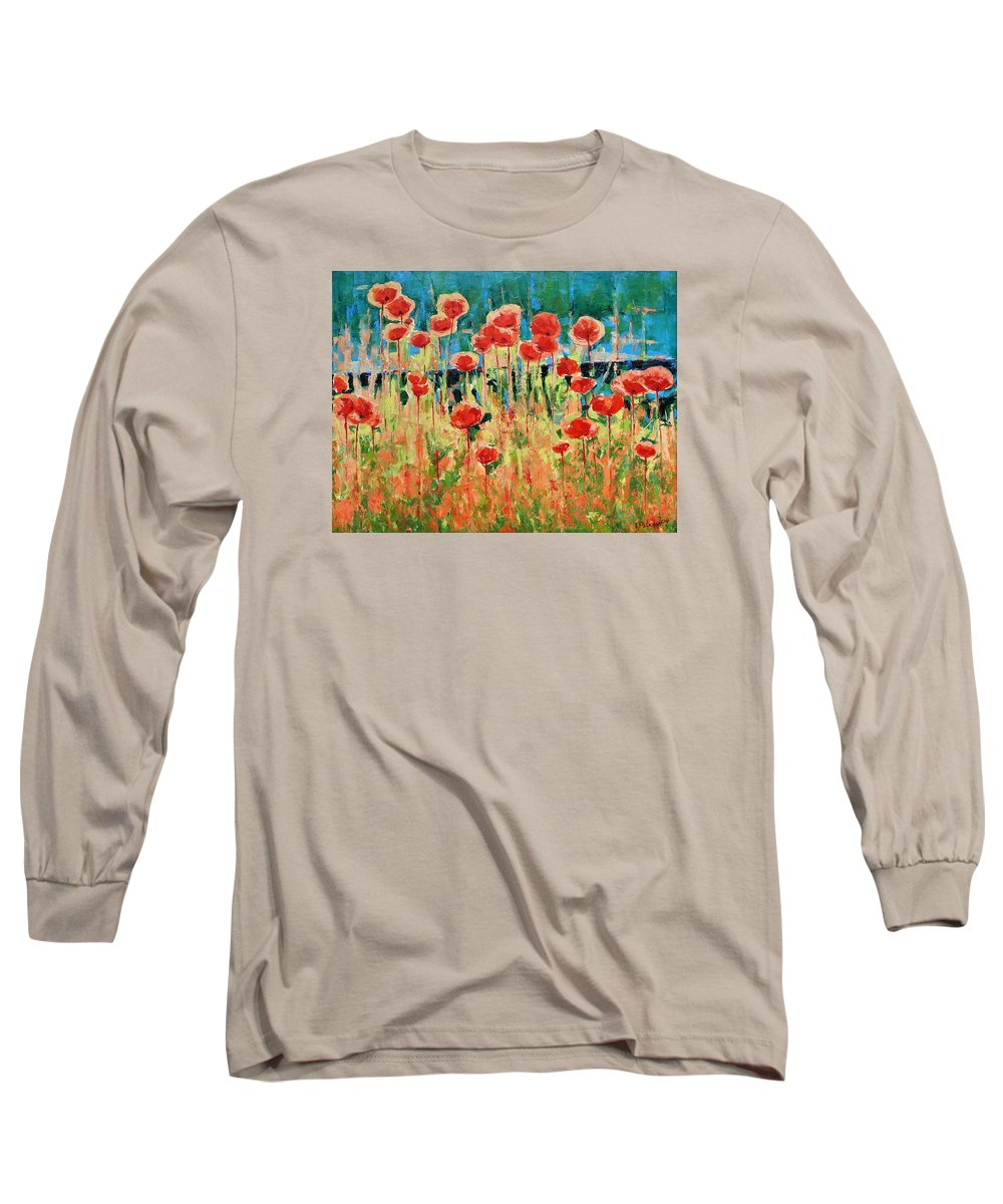 Poppies Long Sleeve T-Shirt featuring the painting Poppies And Traverses 2 by Iliyan Bozhanov