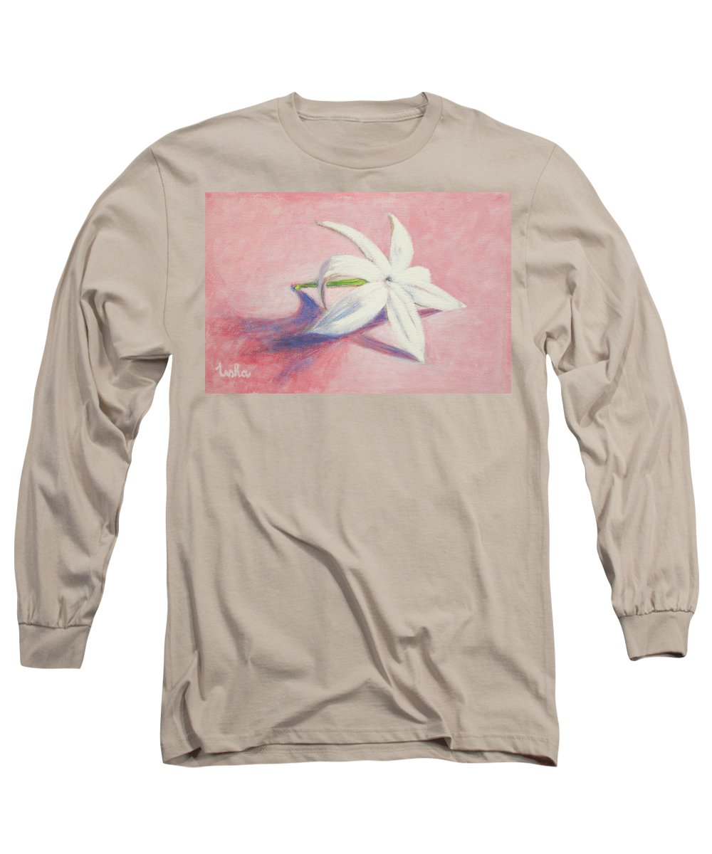 Portrait Long Sleeve T-Shirt featuring the painting Portrait Of The Jasmine Flower by Usha Shantharam