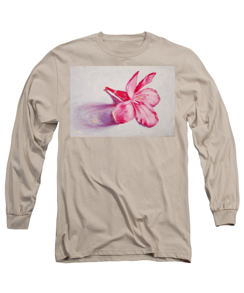 Genneri Long Sleeve T-Shirt featuring the painting Portrait Of The Kaneri Flower. Oleander by Usha Shantharam