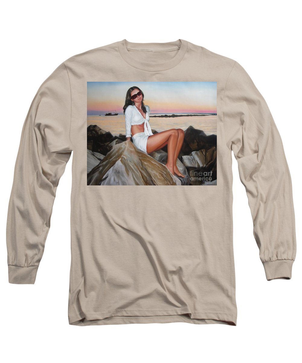 Art Long Sleeve T-Shirt featuring the painting Portrait by Sergey Ignatenko