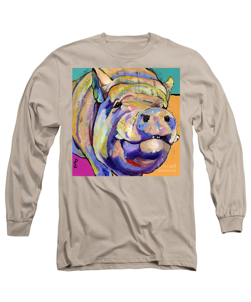Pig Prints Long Sleeve T-Shirt featuring the painting Potbelly by Pat Saunders-White