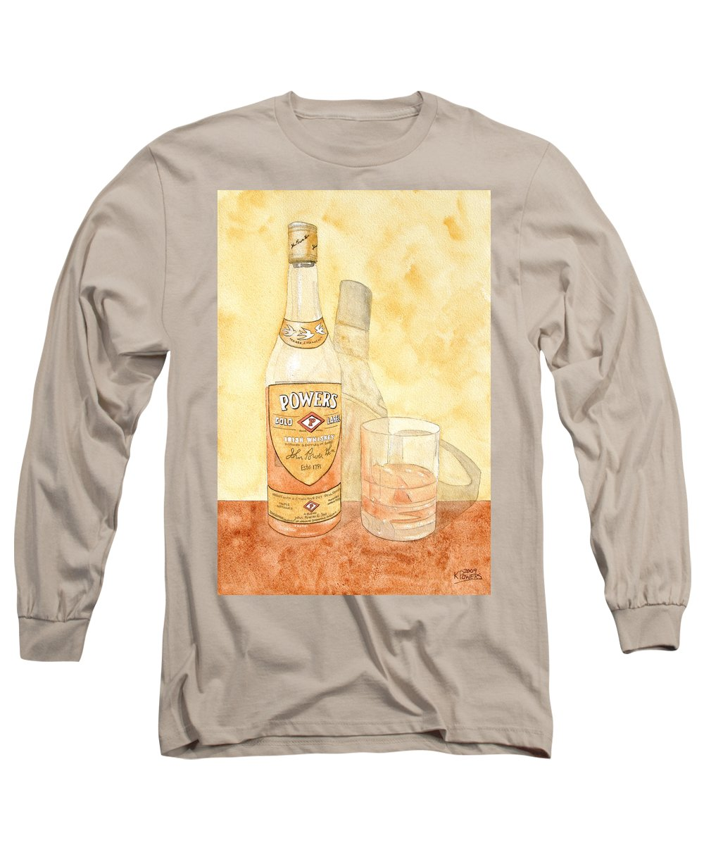 Irish Long Sleeve T-Shirt featuring the painting Powers Irish Whiskey by Ken Powers