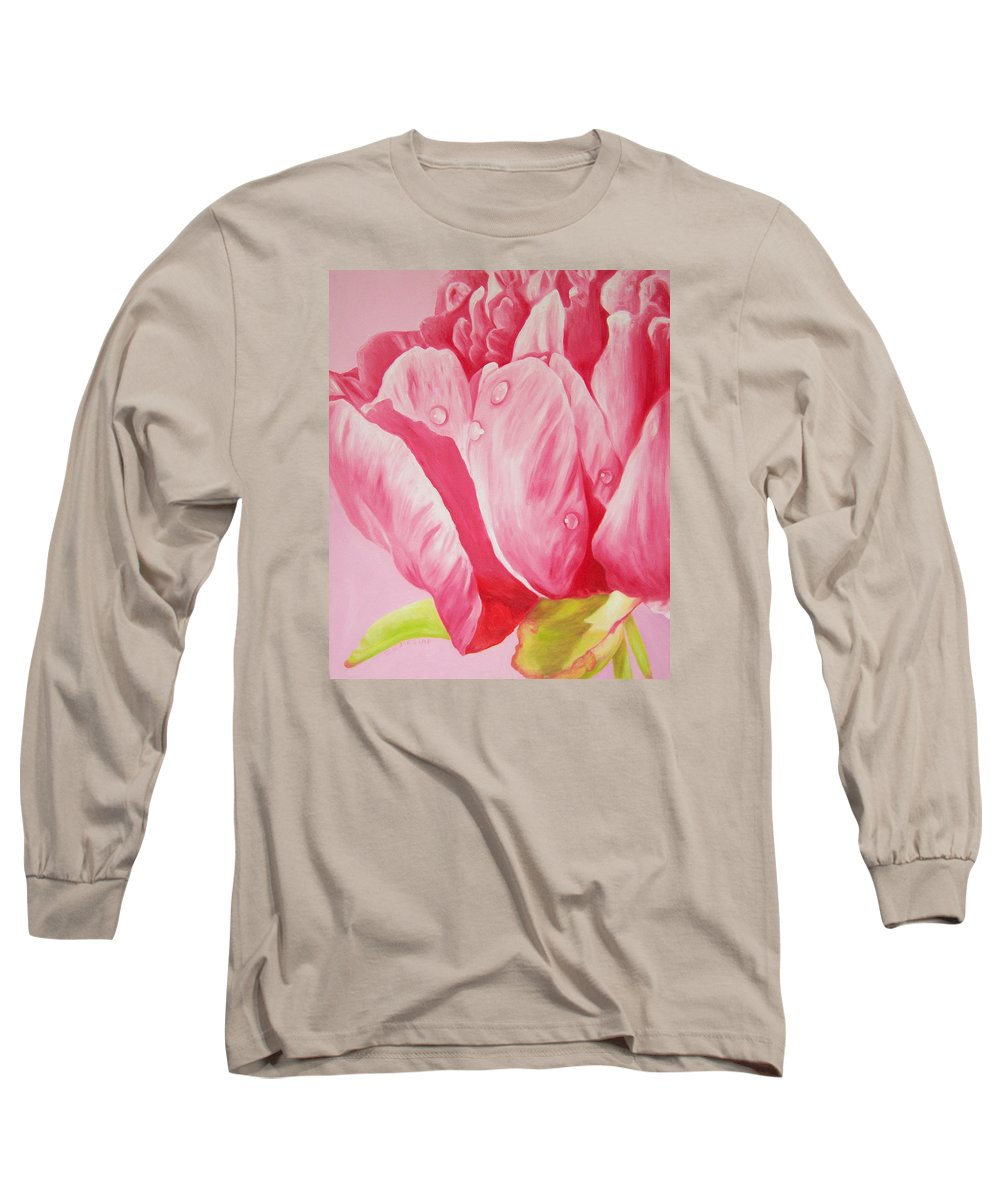 Fine Art Long Sleeve T-Shirt featuring the painting Prints Art For Sale Floral Oil Painting Pink by Diane Jorstad