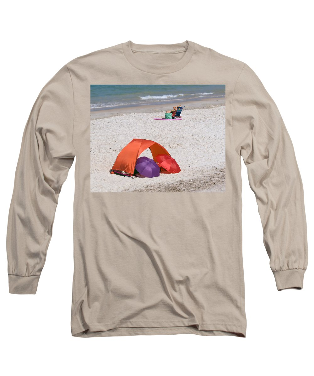 Florida; Vero; Beach; Shore; Coast; East; Atlantic; Ocean; Sand; Sandy; Umbrella; Umbrellas; Sun; Su Long Sleeve T-Shirt featuring the photograph Privacy For Two At The Beach by Allan Hughes