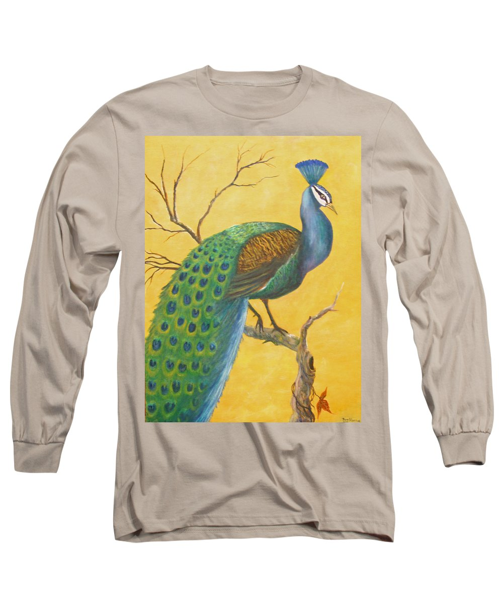 Peacock; Birds; Fall Leaves Long Sleeve T-Shirt featuring the painting Proud As A Peacock by Ben Kiger