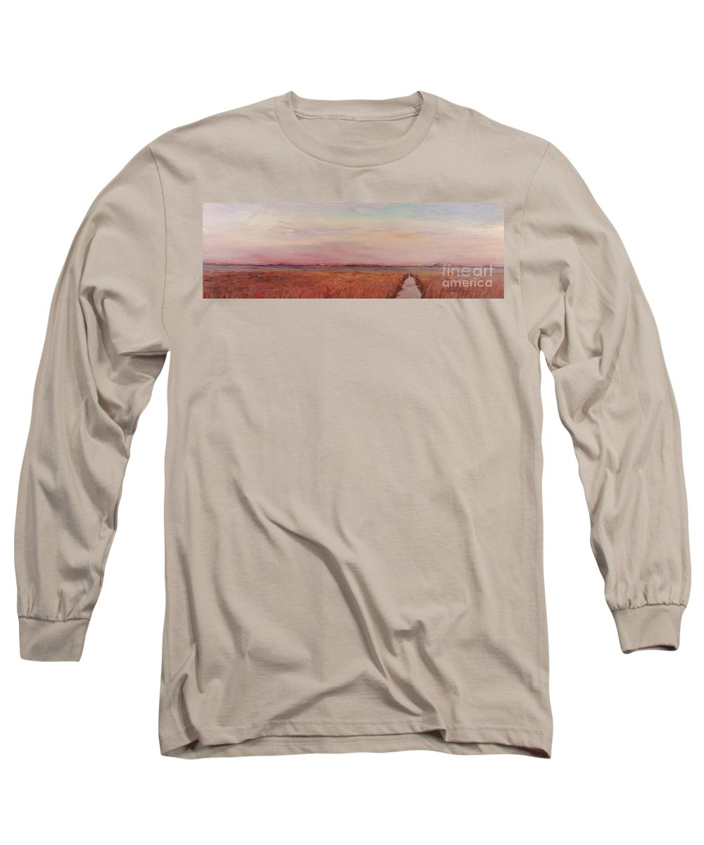 Landscape Long Sleeve T-Shirt featuring the painting Provence Camargue by Nadine Rippelmeyer